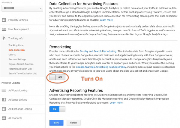 Google Analytics Remarketing Settings