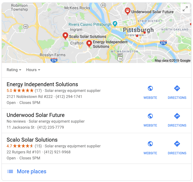 Local solar SEO results in Pittsburgh
