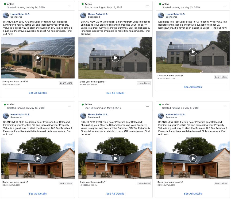 Solar lead aggregator's Facebook ads